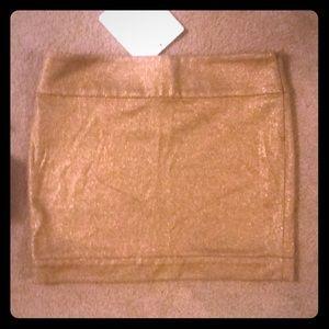 Diane VonFurstenberg Metallic Gold wool mini skirt